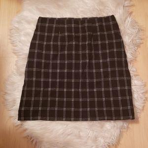 J Jill Plaid Black and White Pencil Skirt